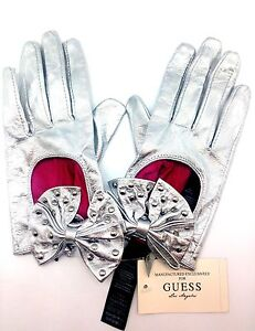 Guess-Leather-Dress-Glove-Formal-Glossy-Silver-Sz-S-Hand-Evening-Driving-Bow-Glo