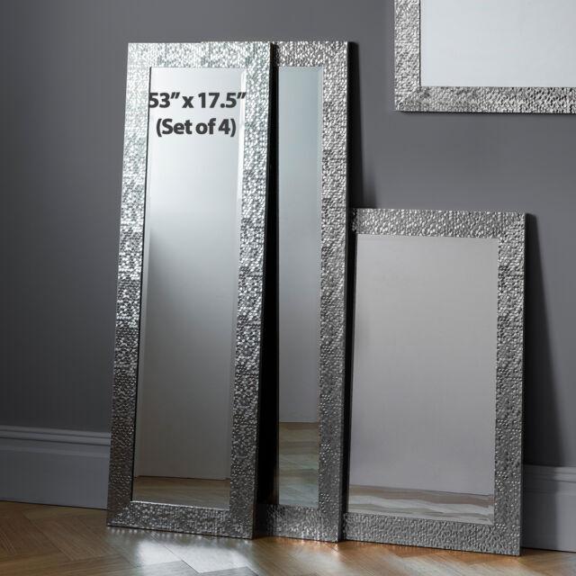 Kingsway Set Of 4 Mosaic Frame Silver Full Length Long Wall Mirrors 134x43cm