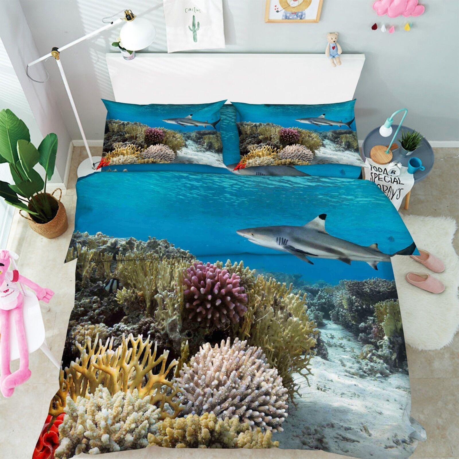3D Seaweed Shark 686 Bed Pillowcases Quilt Duvet Cover Set Single King UK Lemon