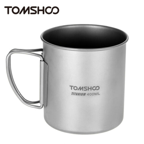 TOMSHOO Outdoor Portable Camping Picnic 400ml Titanium Water Cup Mug with Handle