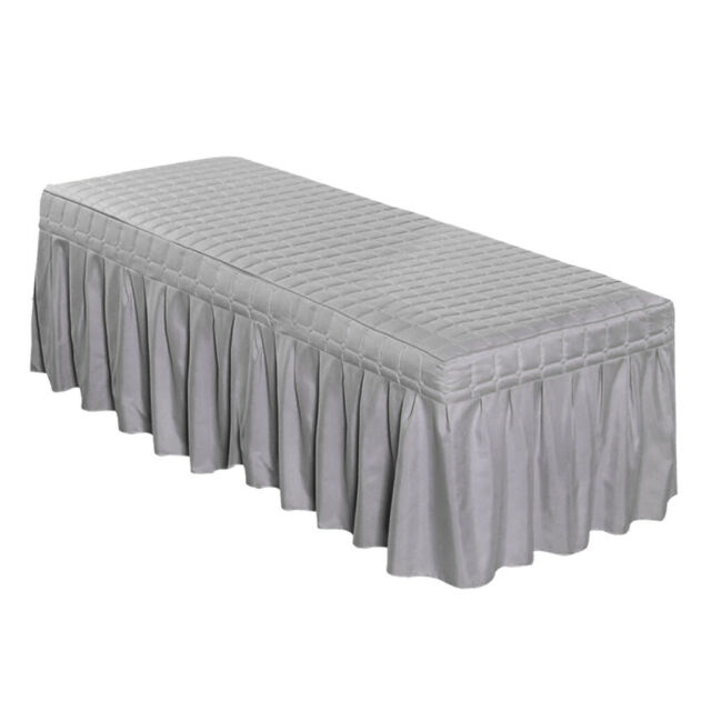"""Massage Bed Skirt 75x28/"""" Beauty Table Valance Sheet Cover with Hole Gray"""