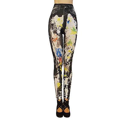 Damen Leggings Leggins Hose Blickdicht Art Design Synthetik Jeansmuster Gr.: XS