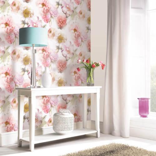 Diamond Bloom Floral Blush Wallpaper Glitter Embossed Vinyl Pink Arthouse