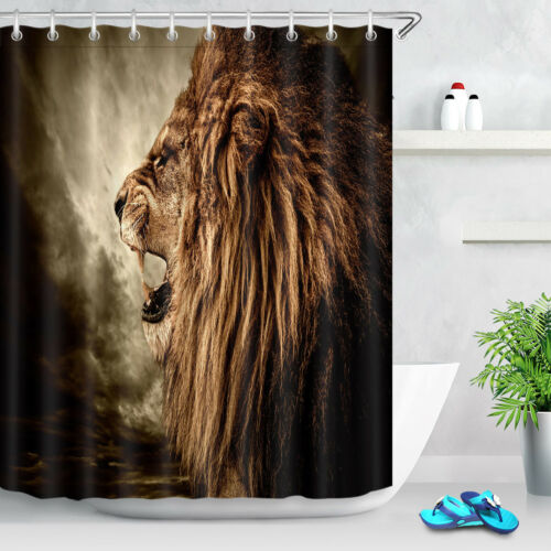 71x79/'/' Waterproof Fabric Shower Curtain Sets Roaring Lion Stormy Sky Background