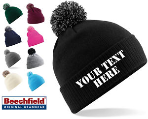 f152093df44 Image is loading Personalised-Snowstar-Pom-Pom-Beanie-Bobble-Hat-With-
