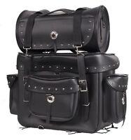 Universal Motorcycle Sissy Bar Touring Luggage Studs 2 Piece Bag Set Cruiser