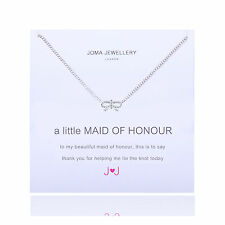 Joma Jewellery 'a little maid of honour' necklace & gift bag bow silver, wedding