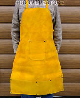 Heavy Duty Multipurpose Leather Work Bib Apron With Snap Tie Back
