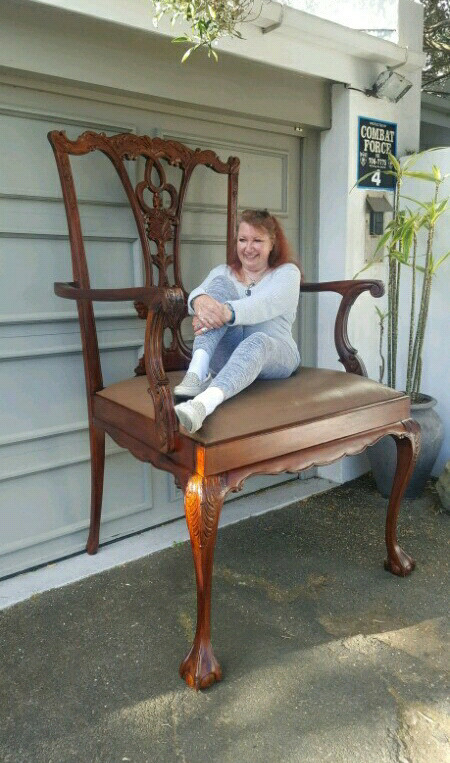 Enormous Antique Mahogany Chair for a Giant