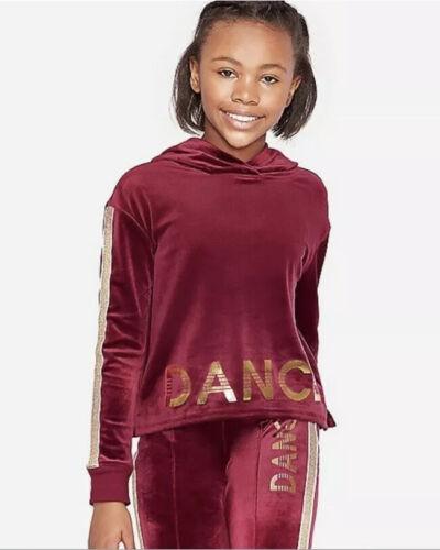 Nwt Justice Velour Glitter Stripe Dance Sports Sweatshirt Burgundy Size 10