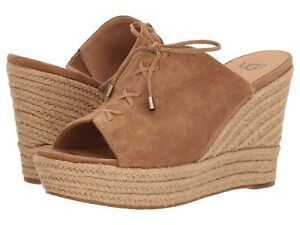 ca790867be8 Details about NEW UGG Australia Giorgia Suede CHESTNUT WEDGE Slip-On SANDAL  Women's Size 5
