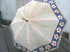 ANTIQUE PARASOL UMBRELLA LACE,GLIT AND PAINTED ENAMEL HANDEL