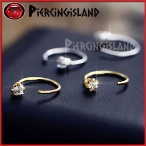 Sterling-Silver-lab-Diamond-Ear-Nose-Stud-Open-Ring-Hoop-Earring-Body-Piercing