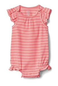 0fe3146fb Baby Gap Girl Beach Bubble Shorty Romper Striped Coral Pink 6-12 ...