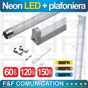 plafoniera neon led t8 attacco reglette supporto neon led 60cm 120cm 150cm led ebay. Black Bedroom Furniture Sets. Home Design Ideas