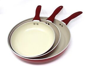 Concord 3 Pc Ceramic Non Stick Fry Pan Set Frying Skillet