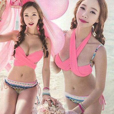 HOT Wholesale Pink Women Bandage Push-up Bikini Padded Bra Swimsuit Swimwear M