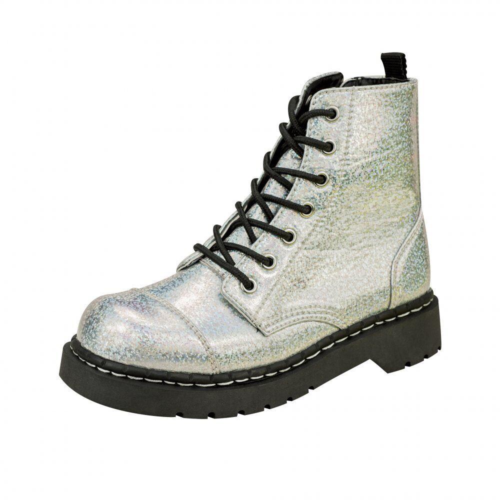 T.U.K. T2236 Tuk Damas Zapatos anárquico 7 Ojo botas de combate patente de Plata