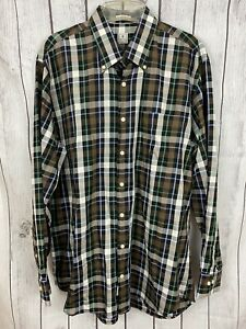 Peter-Millar-Mens-Multi-Color-Plaid-Long-Sleeve-Button-Down-Shirt-Size-L