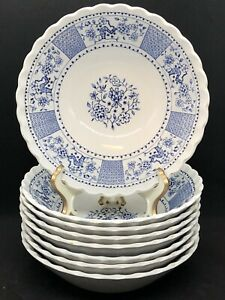 Lot-of-8-J-G-Meakin-Classic-England-Park-Lane-Cereal-Bowls-Blue-Ironstone