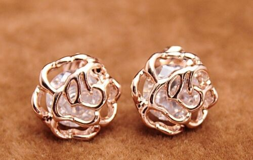 18k Rose Gold Plated Clear Crystal Rose Pierced Stud Earrings Jewelry Gifts