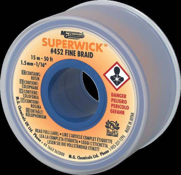 MG Chemicals Desoldering Braid #2 Fine Braid Super Wick With RMA Flux 25/' X