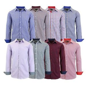 Mens-Long-Sleeve-Slim-Fit-Dress-Shirts-Pinstripe-Checkered-Gingham-Patterned-NEW