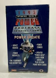 1993-Pro-Set-POWER-UPDATE-Football-factory-sealed-card-box-36packs