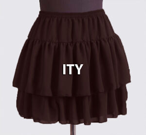 Coffee-Women-Girl-Chiffon-Short-Mini-Tiered-Skirt-Pleated-Retro-Elastic-Lady