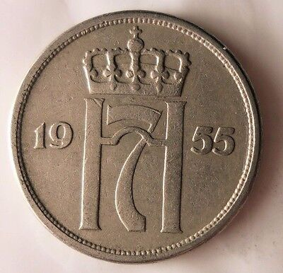 Excellent Vintage Coin Free Shipping Norway Bin #3 1955 NORWAY 10 ORE