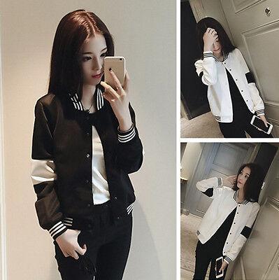 Hot Sale! Korean Women Long Sleeve Contrast Color Jacket Baseball Coat