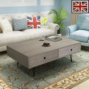 Vintage Coffee Table 100x60x35cm Grey Drawer Side End Living Room