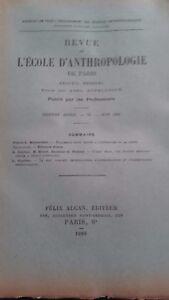 Revista ESCUELA DE ANTROPOLOGÍA 16 Eme Annee 1906F. Alcan N º VI ABE