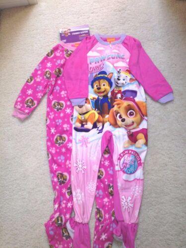 New Nickelodeon Pink Print Paw Patrol Footed Pajamas 2 Complete Sets Save!