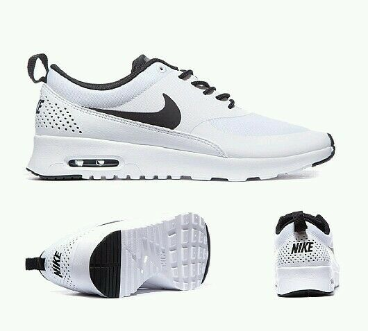 Asos Nike Air Max Thea Scarpe Da Ginnastica Bianco Nero Uomini Donne-Taglia 3uk