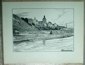Graudenz-Grudziadz-grossform-Tafel-Druck-Ansicht-1920-Pommern-Pommern-alt-Ansicht