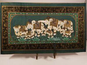 Vintage-Silk-Painting-7-Elephants-Traditional-Folk-Art-India-Unframed-Original