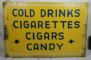 Old Cold Drinks Cigarettes Cigars Candy Double Sided Tin Hand Painted Trade Sign
