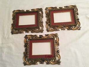 Norleans Brand, Set of 3 ornate gold plastic vintage picture frames, Preowned