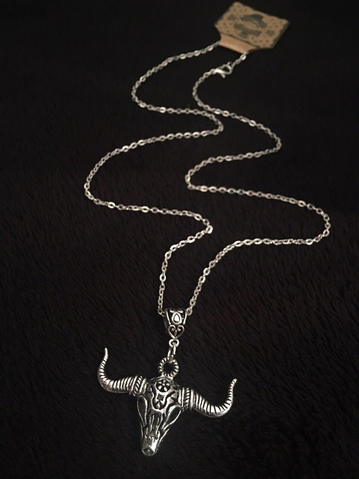 "3D Bull Head Cow Skull Necklace 24/"" Native American Animal Pendant Steampunk UK"