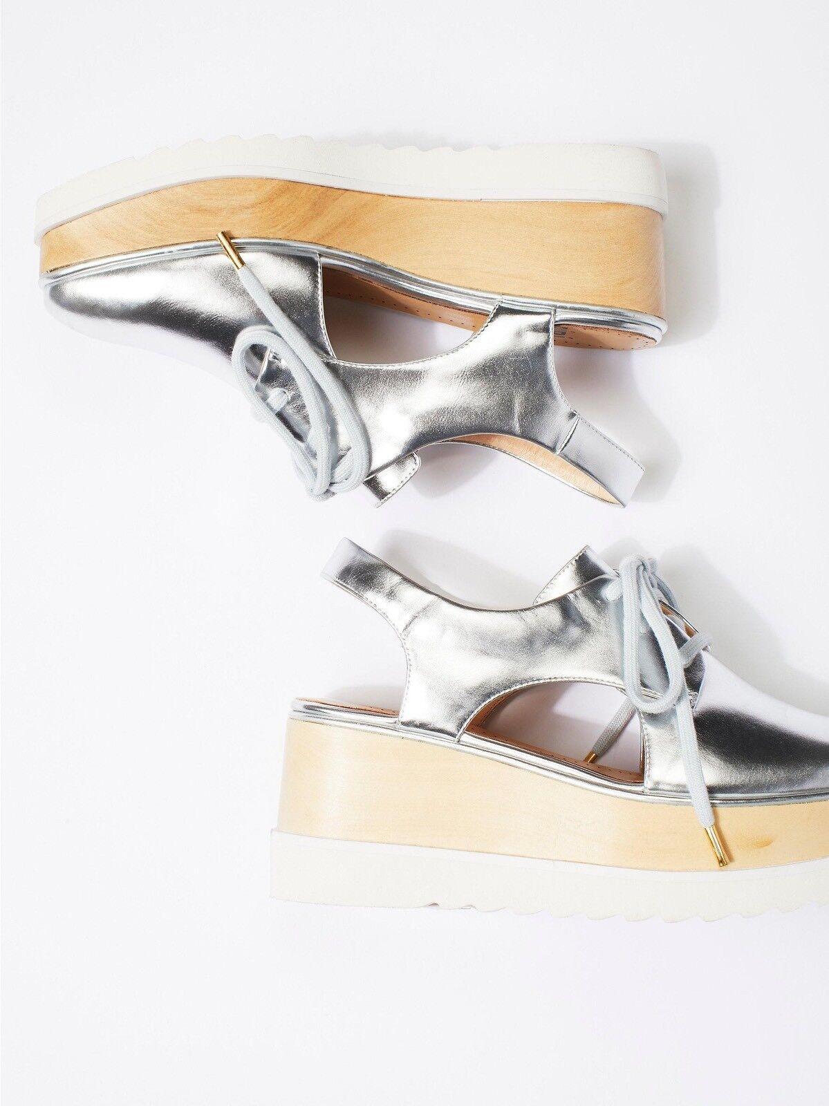 Bibi Loui X Free People Damenschuhe Madison Platform Wedge Schuhes Silver Sz 39 New