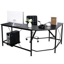 L Shaped Desk Corner Computer Gaming Laptop Table Workstation Office Black 66