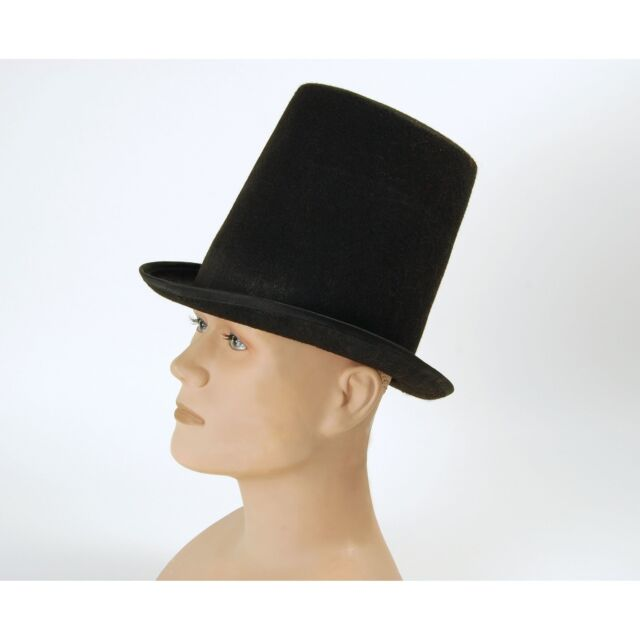 BLACK VICTORIAN STOVEPIPE TOP HAT Mens Fancy Dress Costume Accessory