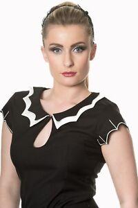 Women-039-s-Black-Gothic-Rock-Punk-Rockabilly-Bat-Shirt-T-shirt-Top-Banned-Apparel