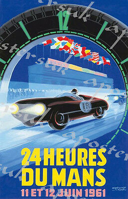 Le Mans 1961 Vintage car poster motorsport automobile racing poster-A3