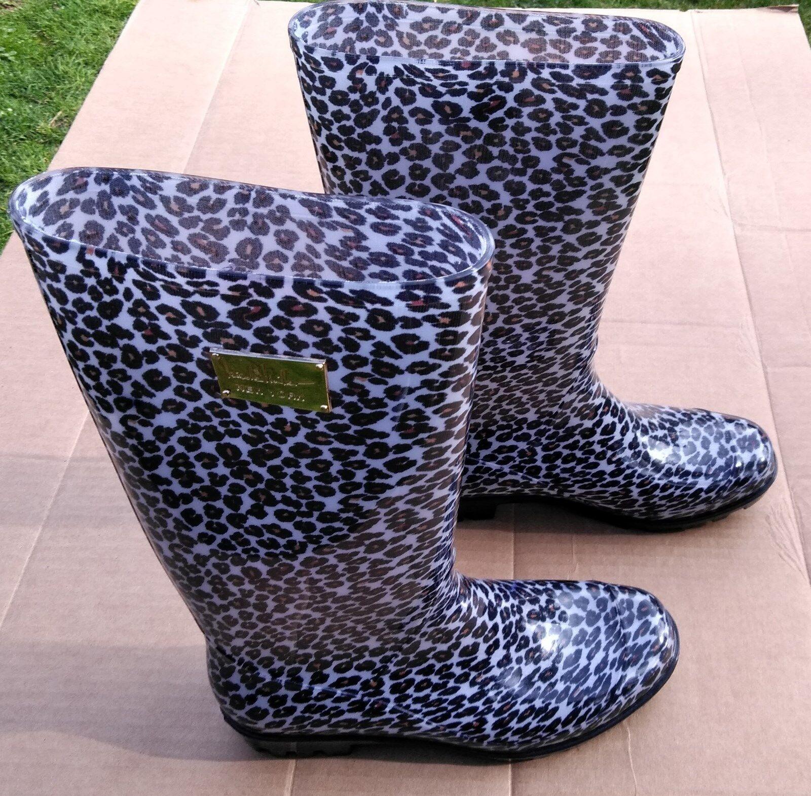 Nicole Miller Lepoard Print Plastic Rain Boots Excellent Hardly Worn 7 M