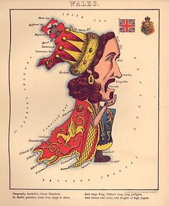 Wales-Geographical-Fun-Atlas-Vintage-Antique-Old-Colour-Reproduction-Welsh-Map
