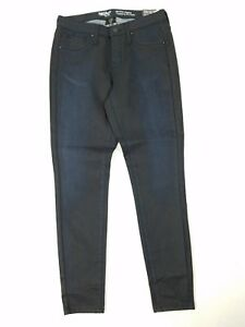 Mossimo-Womens-Jeans-Size-2-Mid-Rise-Jegging-Skinny-Coated-Black-Blue