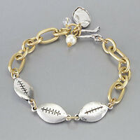 Silver Football Charm Pearl Sports Gold Chain Bracelet