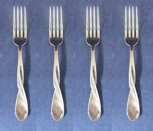SET-OF-FOUR-Oneida-Stainless-Flatware-AQUARIUS-GLOSSY-Dinner-Forks-NEW